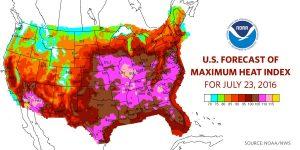 Hitzewelle in den USA (100Grad F sind etwa 35 Grad C)